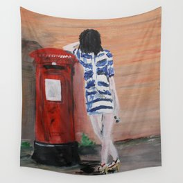 Blue And White Striped Dress Acrylic Fine Art Painting Wall Tapestry