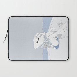 Blue Stripes & Boats Fashion Girl Laptop Sleeve