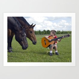 Playing to an audience of horses Art Print