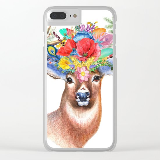 Hipster Deer Clear iPhone Case