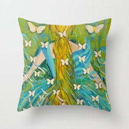 The Butterfly Girl Throw Pillow