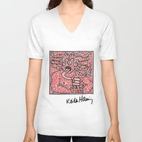 keith haring V-neck T-shirts featuring Keith Haring by cvrcak