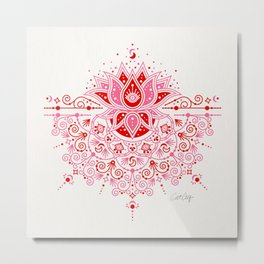 Lotus Blossom Mandala – Red & Pink Palette Metal Print