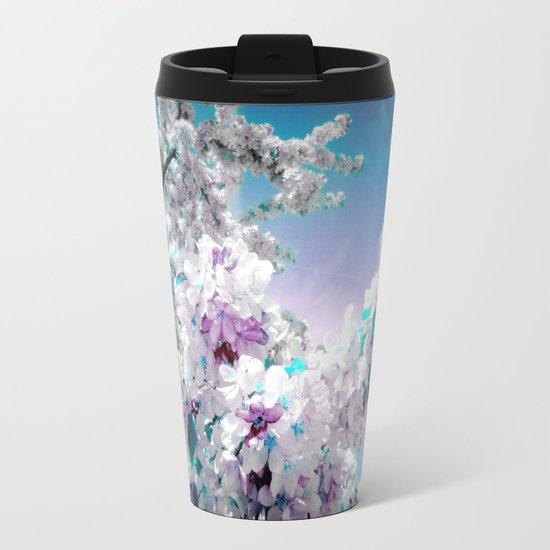 Flowers Lavender Turquoise Aqua Blue Metal Travel Mug