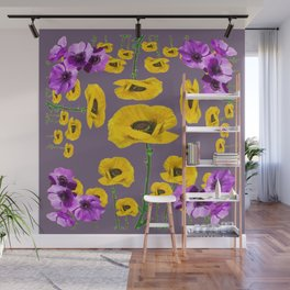 LILAC ANEMONES YELLOW POPPY FLOWERS ON GREY Wall Mural