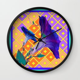 Aqua Purple Gold Morning Glories Wall Clock