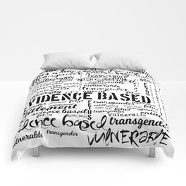 Double Plus Good Banned Words in Black and White Comforters
