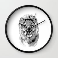 nfl Wall Clocks featuring Animal Prints - Proud Lion - By Sharon Cummings by Sharon Cummings
