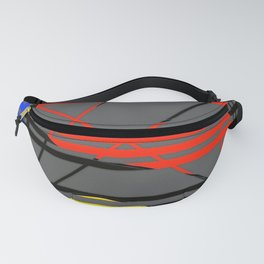 Pipe lines grey, red, blue, yellow, black Fanny Pack