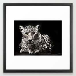 Green & White (& Black) Framed Art Print