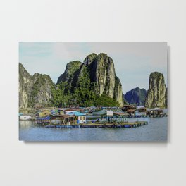 Colorful Floating Village in the Sea beneath the Limestone Cliffs of Halong Bay, Vietnam Metal Print