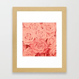 Some People Grumble - Living Coral Roses Framed Art Print