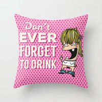 drunk Throw Pillows featuring DRUNK GIRL by flydesign