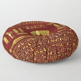 Golden Egyptian Scarab on red leather Floor Pillow