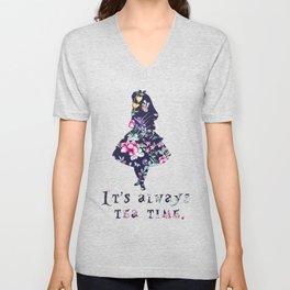Alice floral designs - Always tea time Unisex V-Neck