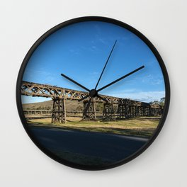 old railway bridge crossing Murrumbidgee River Gundagai New South Wales. Wall Clock
