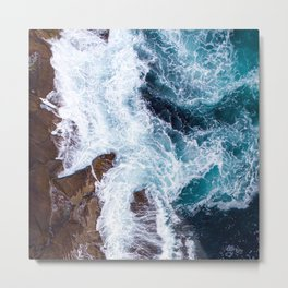 Turquoise Ocean Waves With Foamy, Rugged Surf Metal Print