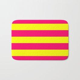 Bright Neon Pink and Yellow Horizontal Cabana Tent Stripes Bath Mat