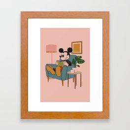 """Mickey Mouse Reading"" by Haley Tippmann Framed Art Print"