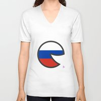 russia V-neck T-shirts featuring Russia Smile by onejyoo