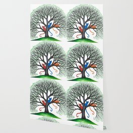 Iowa Whimsical Cats in Tree Wallpaper