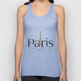 Paris is always a good idea - Audrey Hepburn - gold eiffel Unisex Tank Top