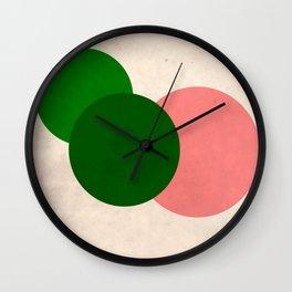 Peach Green Vintage Mod Circles Wall Clock