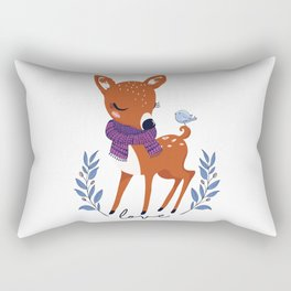 Cute doe with little bird illustration. Rectangular Pillow