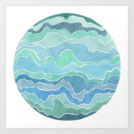 water, ripples and currents Art Print