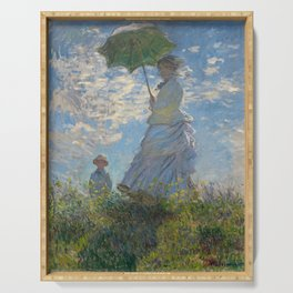 The Walk, Woman with a Parasol by Claude Monet Serving Tray