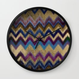 Modern faux gold pink navy blue purple ikat pattern Wall Clock