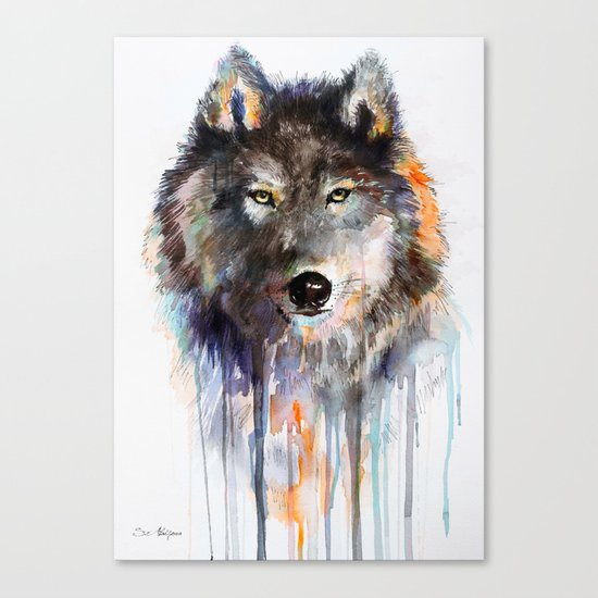 Charcoal Wolf Canvas Print