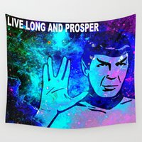 spock Wall Tapestries featuring SPOCK by Saundra Myles