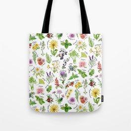 Plants & Herbs Alphabet Tote Bag