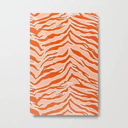Tiger Print - Orange Metal Print