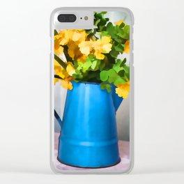 Blue Tea Kettle Clear iPhone Case