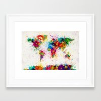 map Framed Art Prints featuring Map of the World Map Paint Splashes by artPause