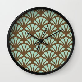 Brown and Mint Green Deco Fan Wall Clock
