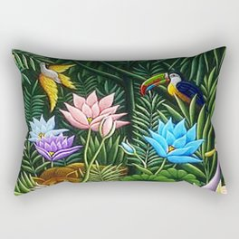 Classical Masterpiece 'Tropical Birds and Flying Things' by Henry Rousseau Rectangular Pillow