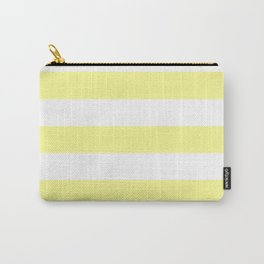 Pastel yellow - solid color - white stripes pattern Carry-All Pouch