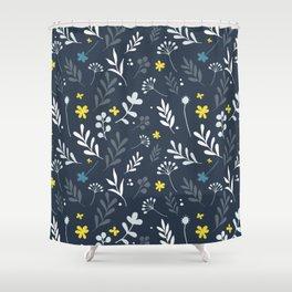 Floral Pattern 1 - Blue Shower Curtain