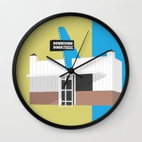 kansas city Wall Clocks featuring Kansas City Food - Diner by greetingsfromKC
