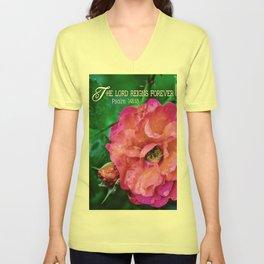 Fuchsia Flower With Raindrops Unisex V-Neck