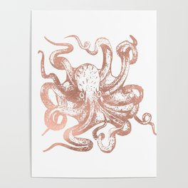 Rose Gold Octopus Poster