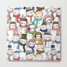Happy Snowmen Pattern Metal Print