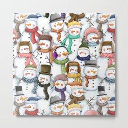 Happy Snowmen Pattern Metal Print