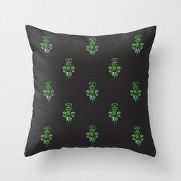 Jewelbox: Emerald Brooch Repeat in Black Onyx Throw Pillow