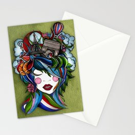 Paris girl in green Stationery Cards
