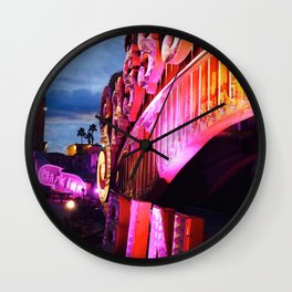neon museum sunset Wall Clock
