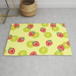 Line Strawberry fruits pattern yellow Rug